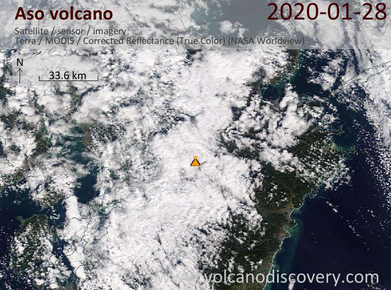 Satellite image of Aso volcano on 28 Jan 2020