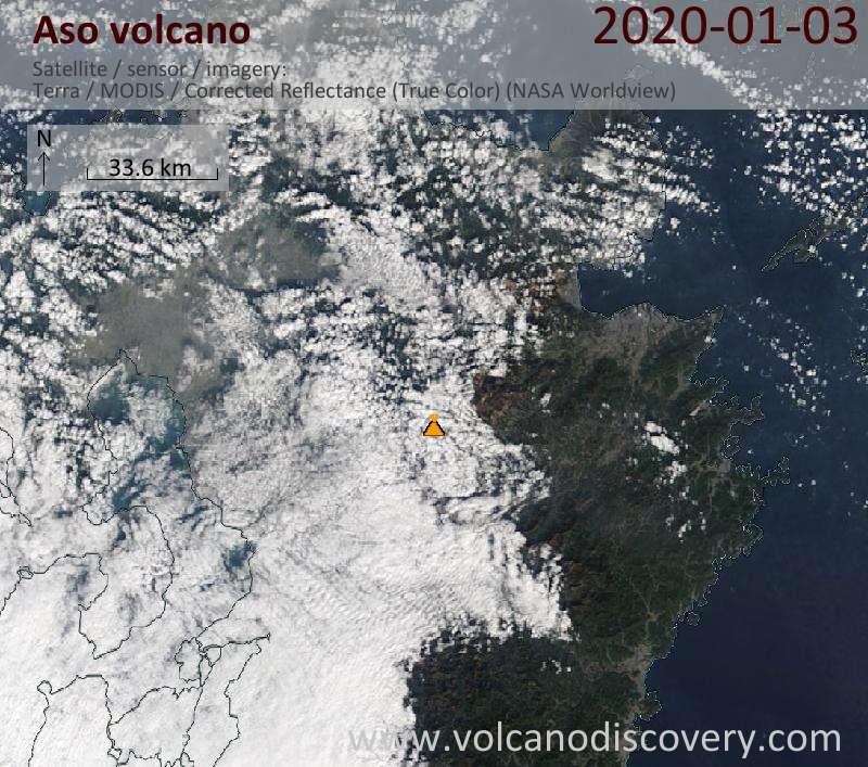 Satellite image of Aso volcano on  3 Jan 2020