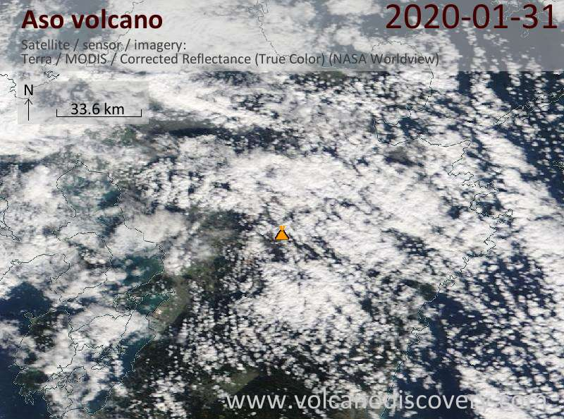 Satellite image of Aso volcano on 31 Jan 2020