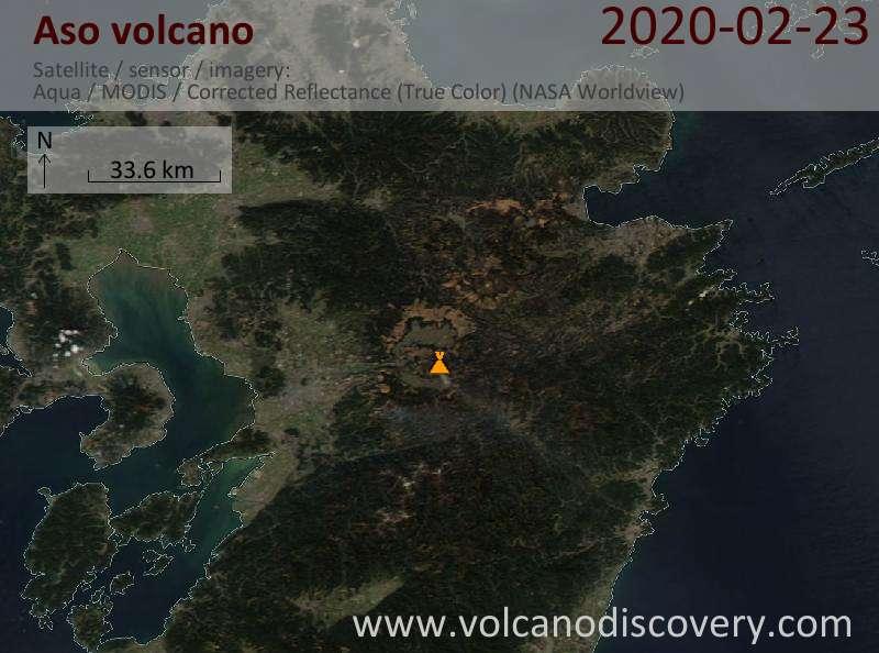 Спутниковое изображение вулкана Aso 24 Feb 2020