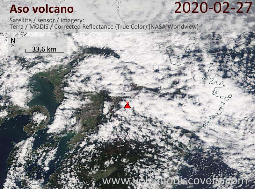 Satellite image of Aso volcano on 27 Feb 2020