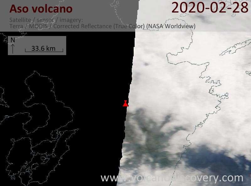 Satellite image of Aso volcano on 28 Feb 2020