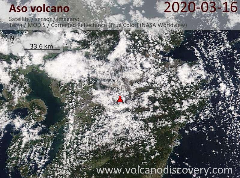 Satellite image of Aso volcano on 16 Mar 2020