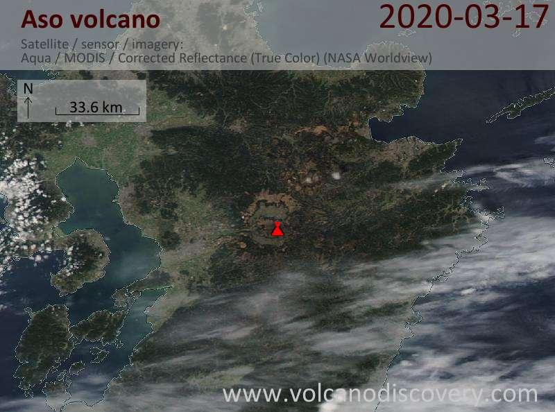 Satellite image of Aso volcano on 18 Mar 2020