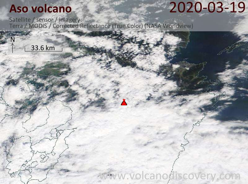 Satellite image of Aso volcano on 19 Mar 2020