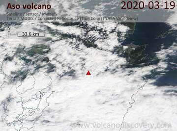 Satellite image of Aso volcano on 19 Mar 2020