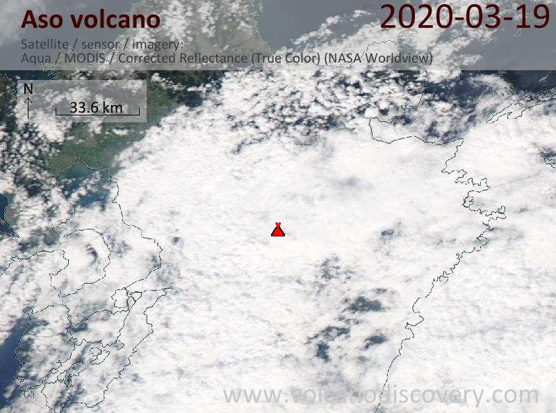 Satellite image of Aso volcano on 20 Mar 2020