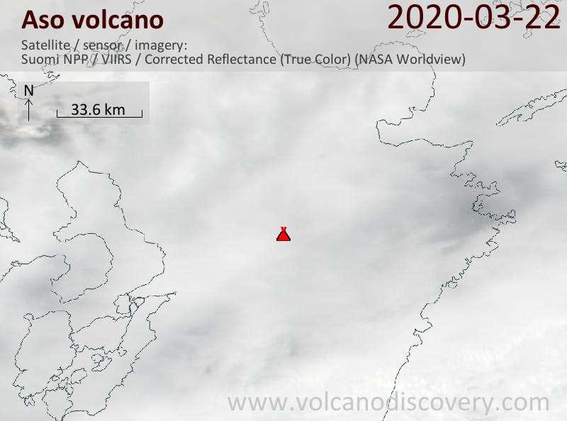 Satellite image of Aso volcano on 23 Mar 2020