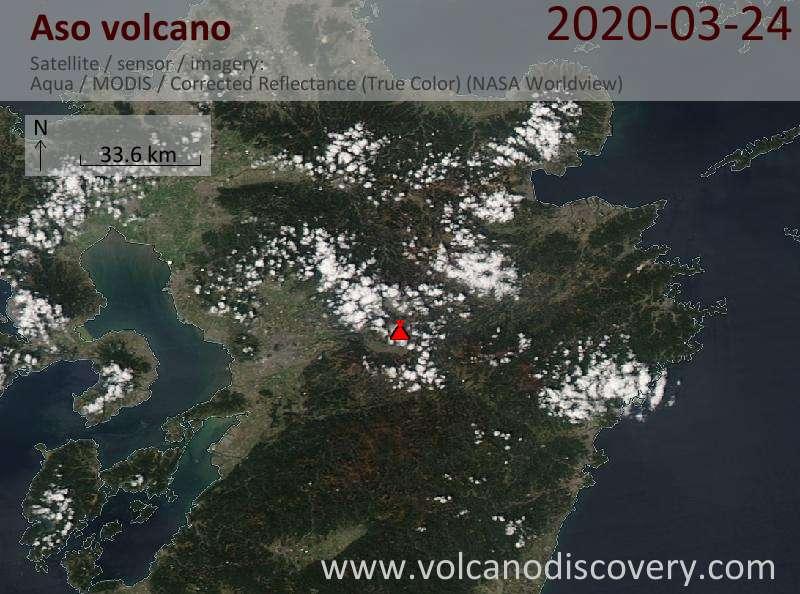 Satellite image of Aso volcano on 25 Mar 2020