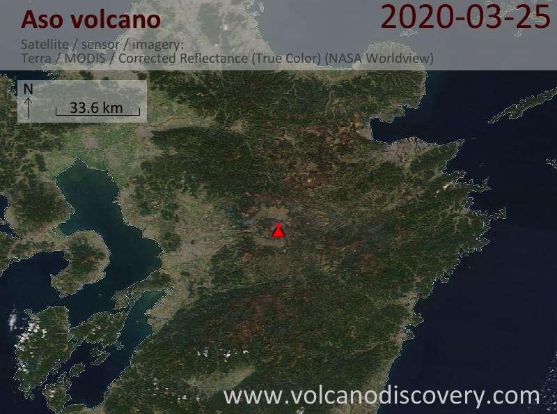 Satellitenbild des Aso Vulkans am 26 Mar 2020