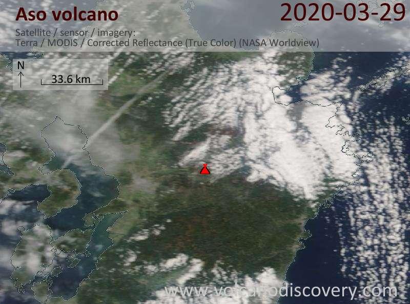 Satellitenbild des Aso Vulkans am 29 Mar 2020