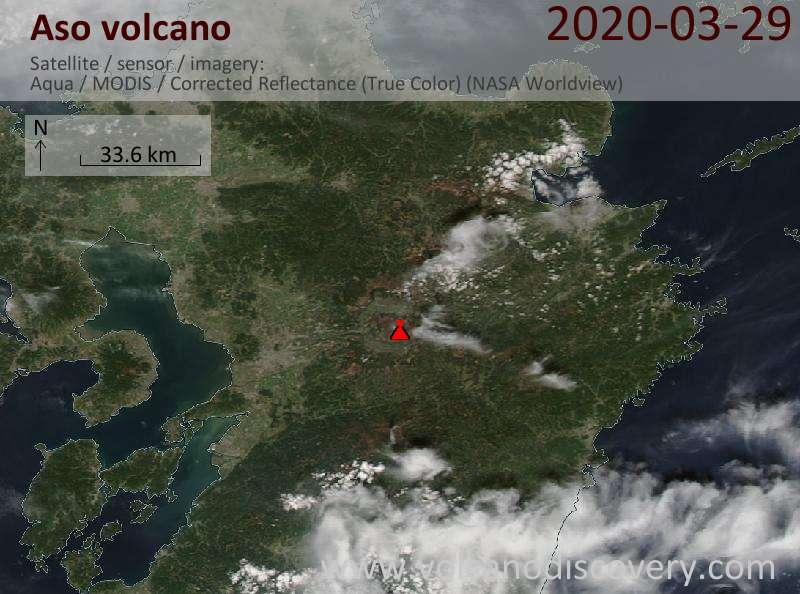 Satellite image of Aso volcano on 30 Mar 2020