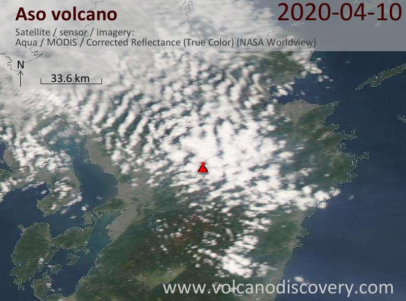 Satellite image of Aso volcano on 11 Apr 2020