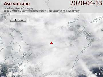Satellite image of Aso volcano on 13 Apr 2020