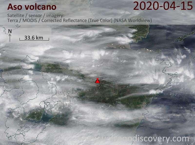 Satellite image of Aso volcano on 15 Apr 2020