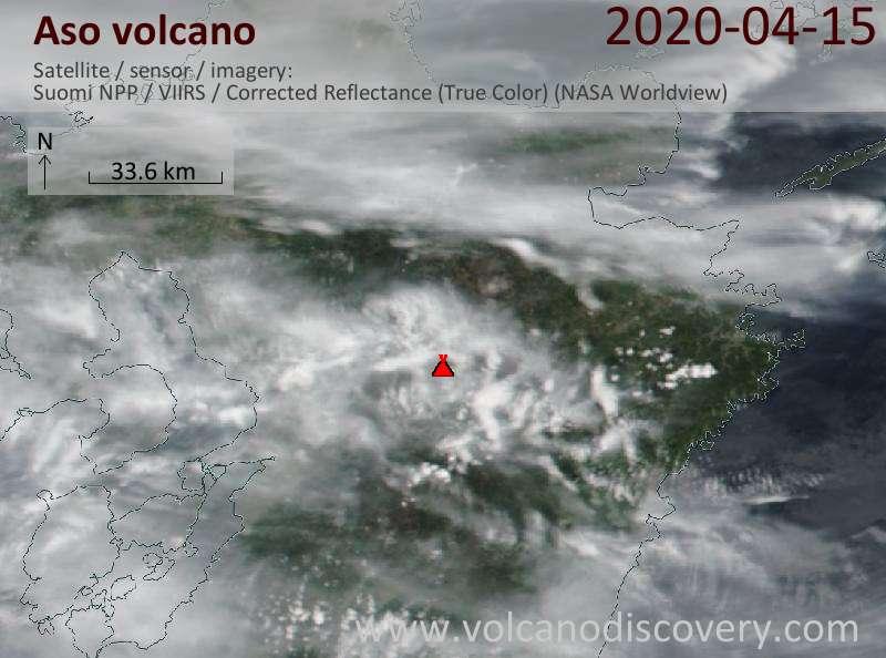 Satellite image of Aso volcano on 16 Apr 2020