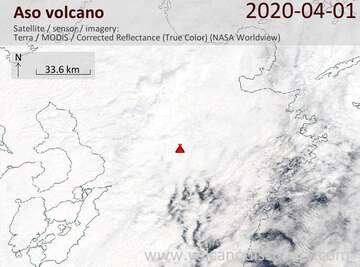 Satellite image of Aso volcano on  1 Apr 2020