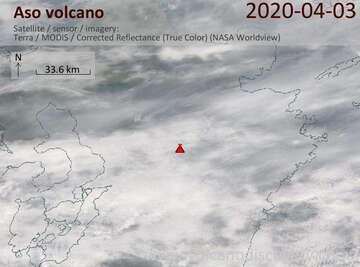 Satellite image of Aso volcano on  3 Apr 2020