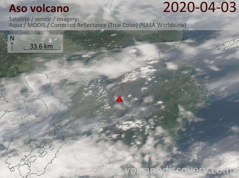 Satellite image of Aso volcano on  4 Apr 2020