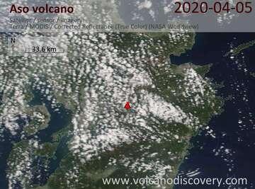 Satellite image of Aso volcano on  5 Apr 2020