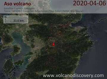 Satellite image of Aso volcano on  6 Apr 2020
