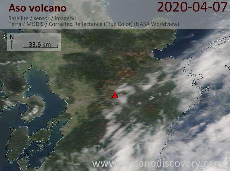 Satellite image of Aso volcano on  7 Apr 2020