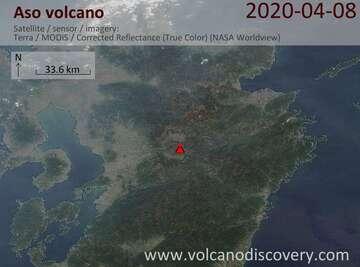 Satellite image of Aso volcano on  8 Apr 2020