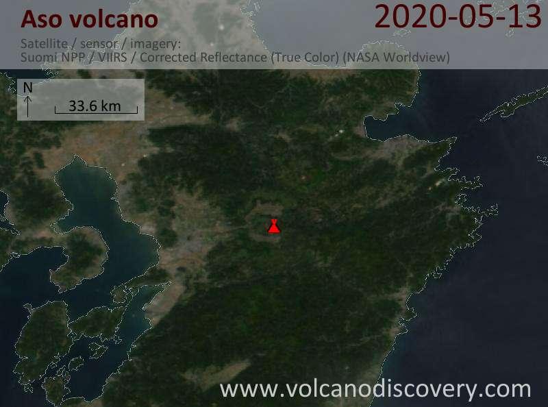 Спутниковое изображение вулкана Aso 14 May 2020