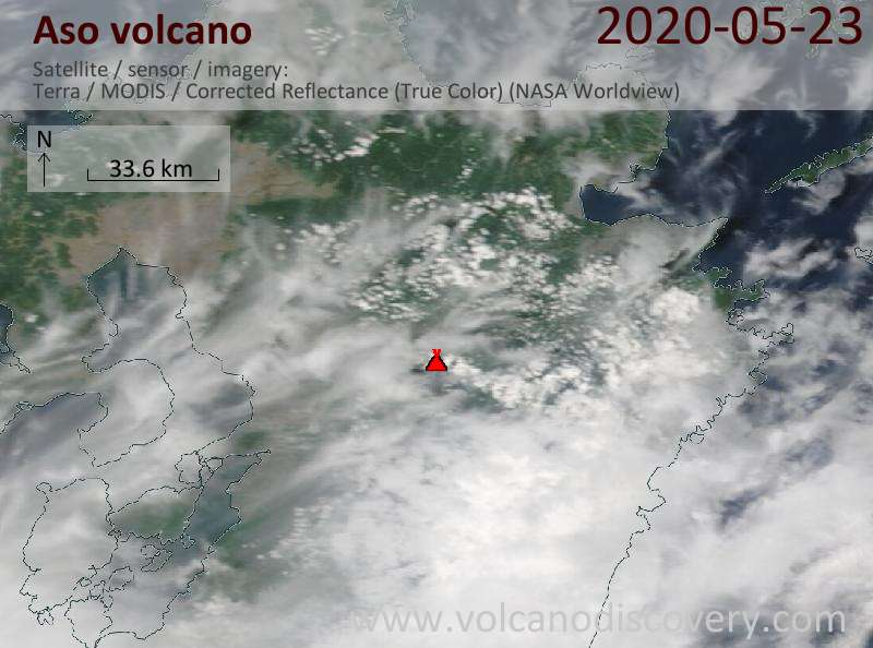 Satellite image of Aso volcano on 23 May 2020