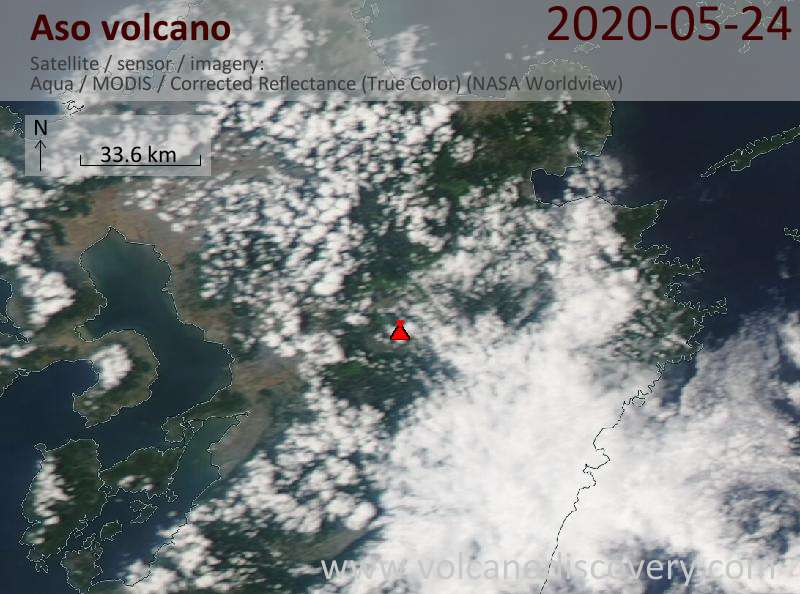 Satellite image of Aso volcano on 25 May 2020