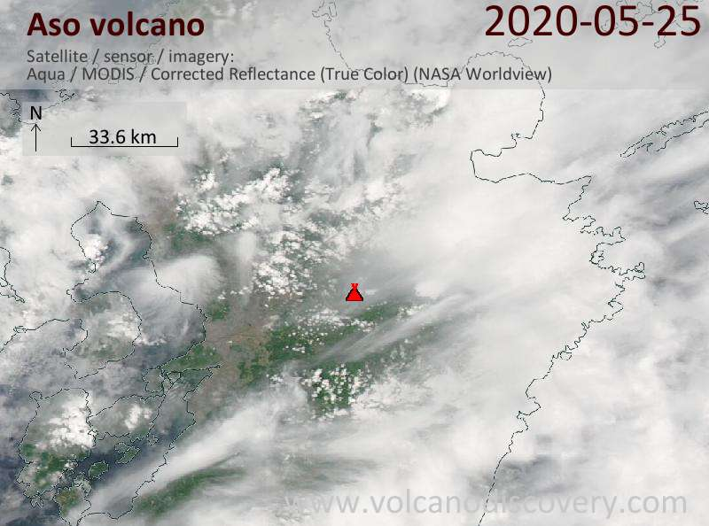 Satellite image of Aso volcano on 26 May 2020