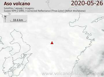 Satellite image of Aso volcano on 27 May 2020