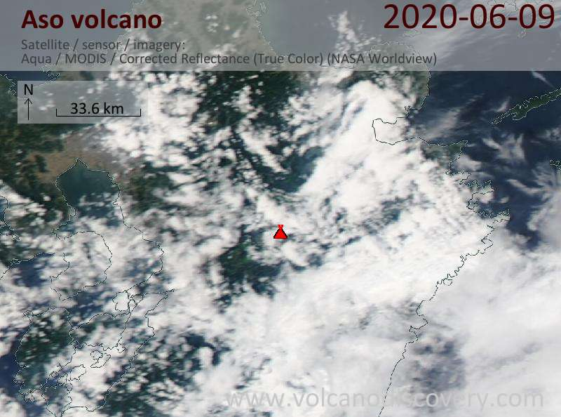 Satellitenbild des Aso Vulkans am 10 Jun 2020