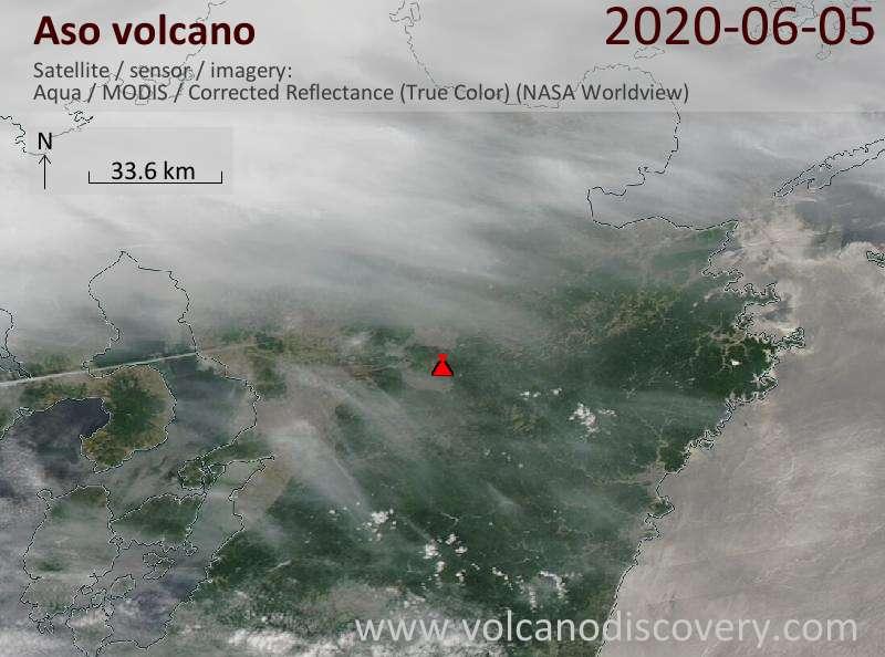 Satellitenbild des Aso Vulkans am  6 Jun 2020