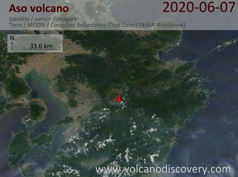 Спутниковое изображение вулкана Aso  7 Jun 2020