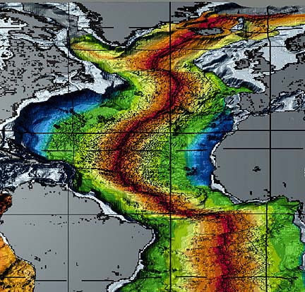 Age of the Atlantic oceanic crust. The crust near the continental margins (blue) is about 200 million years old. It gets progressively younger toward the mid-Atlantic ridge, where oceanic crust is forming today. (NOAA)
