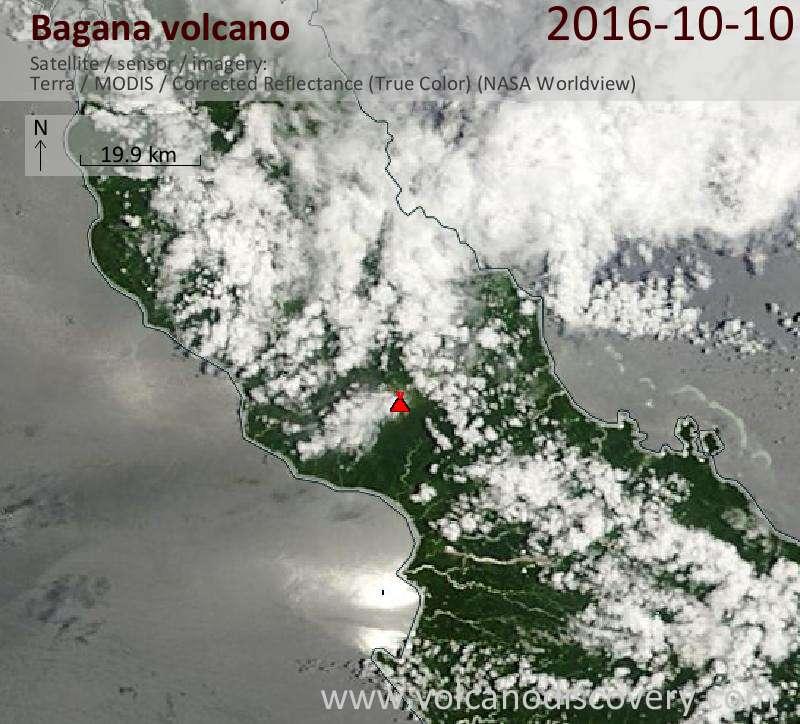 Satellite image of Bagana volcano on 10 Oct 2016