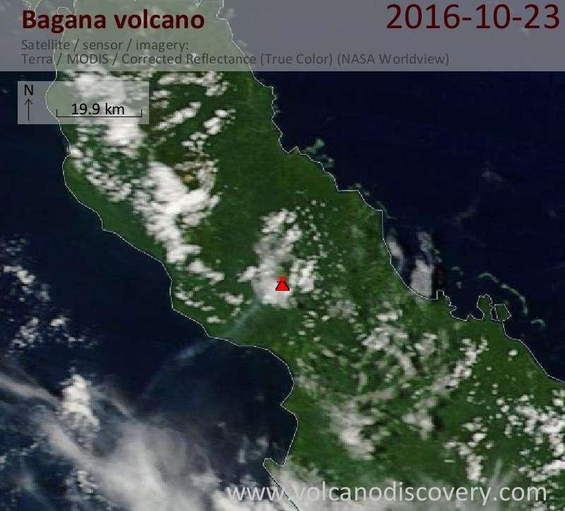 Satellite image of Bagana volcano on 23 Oct 2016