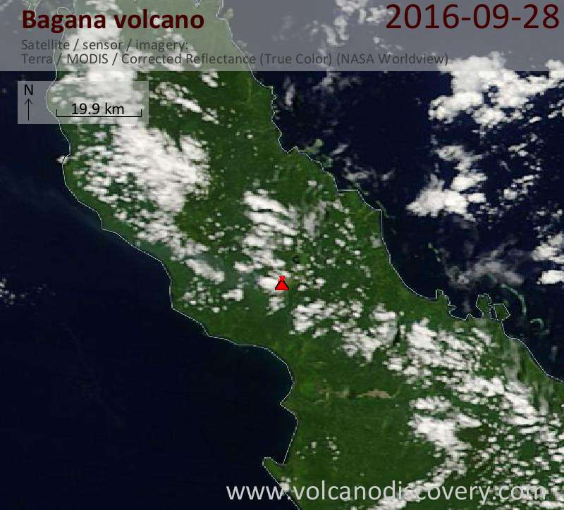 Satellite image of Bagana volcano on 28 Sep 2016