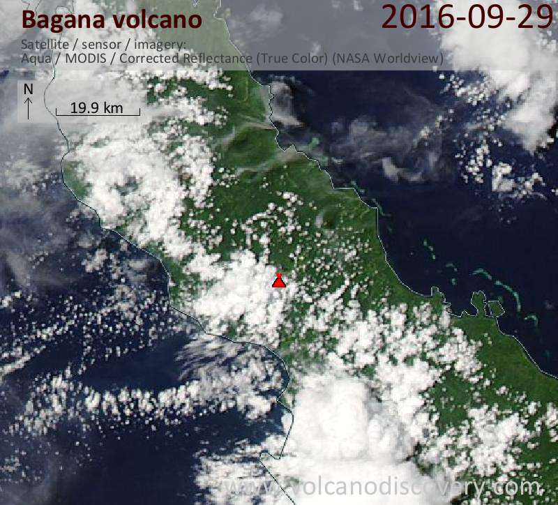 Satellite image of Bagana volcano on 29 Sep 2016