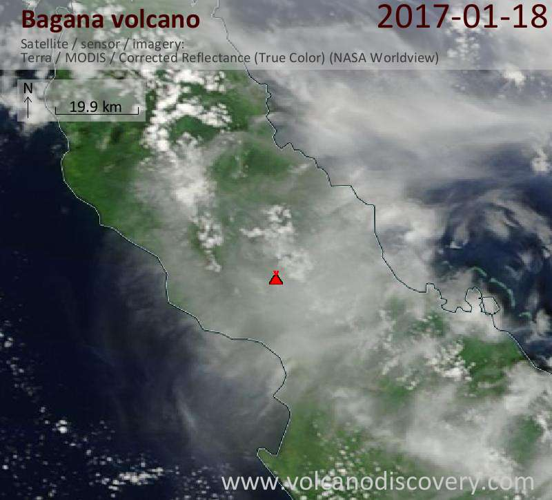 Satellite image of Bagana volcano on 18 Jan 2017
