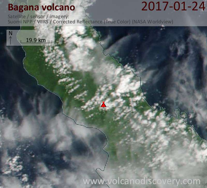 Satellite image of Bagana volcano on 24 Jan 2017