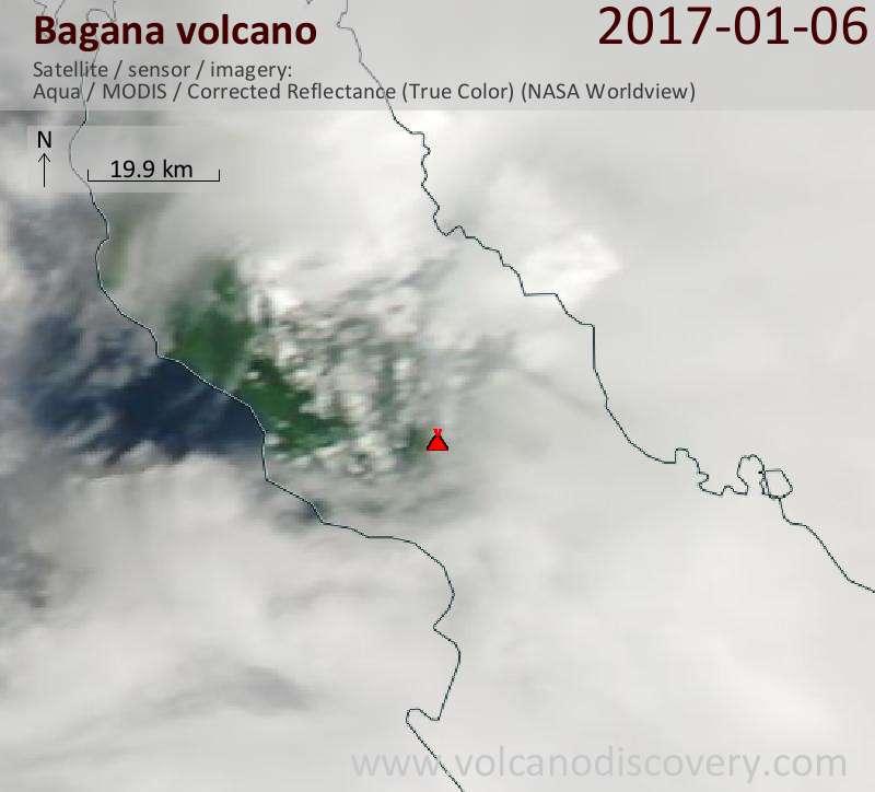 Satellite image of Bagana volcano on  6 Jan 2017
