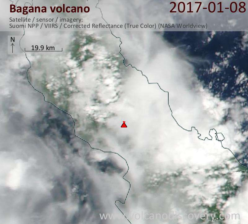 Satellite image of Bagana volcano on  8 Jan 2017