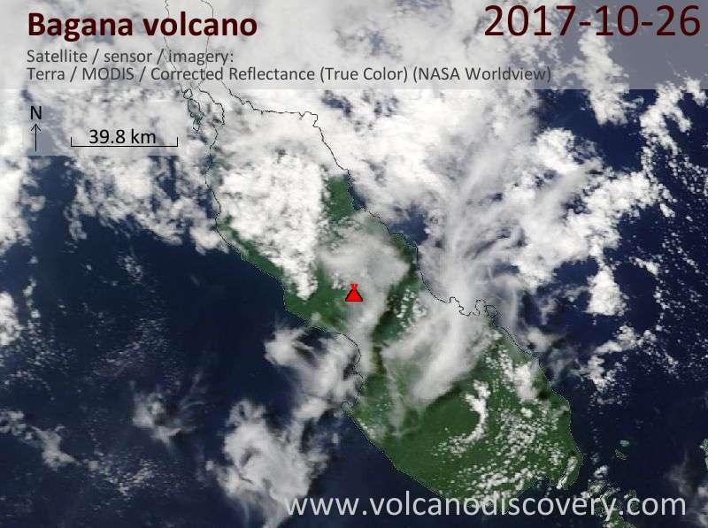 Satellite image of Bagana volcano on 26 Oct 2017