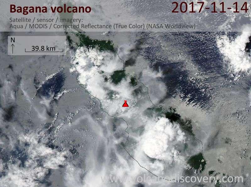 Satellite image of Bagana volcano on 14 Nov 2017