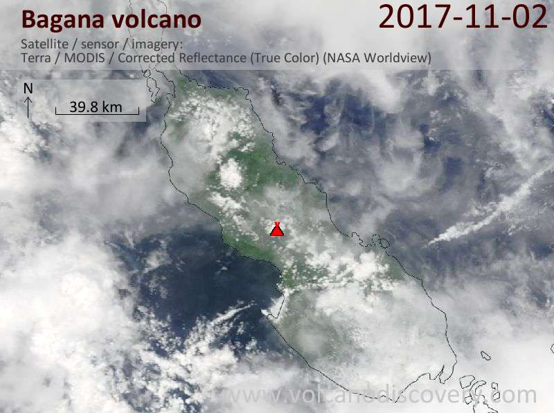 Satellite image of Bagana volcano on  2 Nov 2017