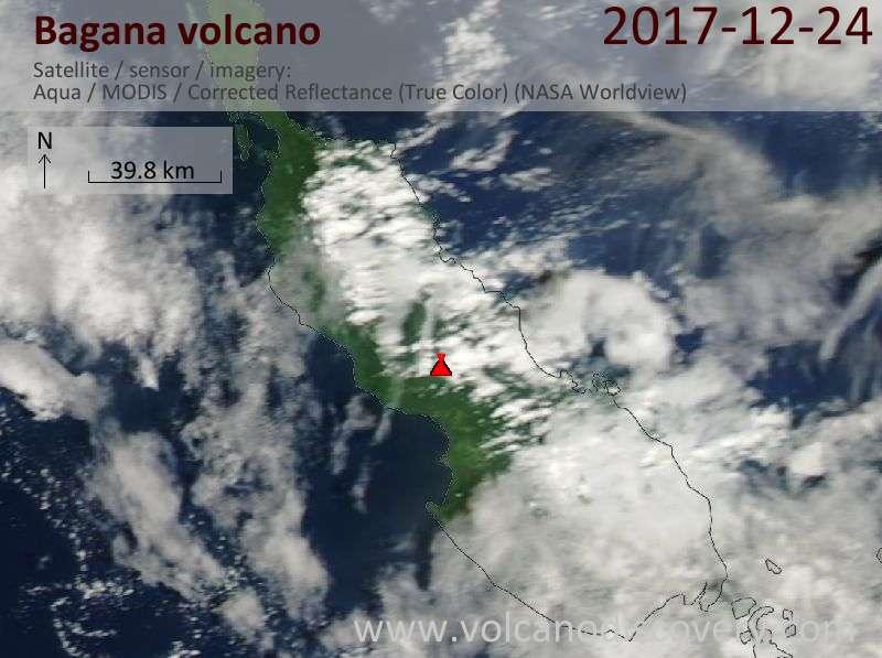 Satellite image of Bagana volcano on 24 Dec 2017
