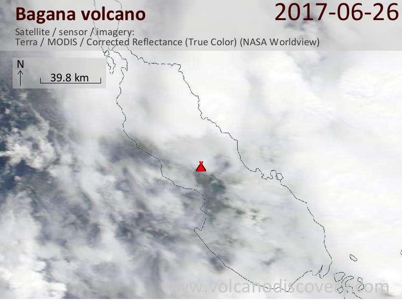 Satellite image of Bagana volcano on 26 Jun 2017