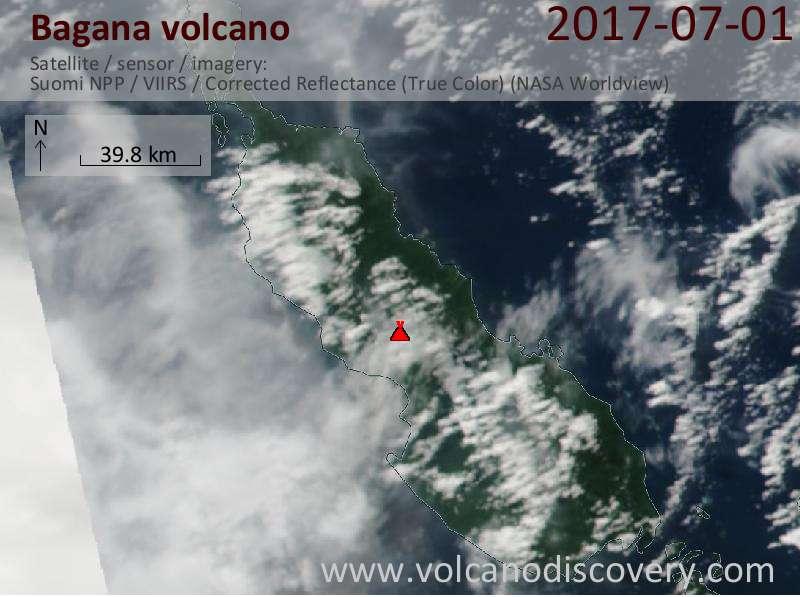 Satellite image of Bagana volcano on  1 Jul 2017